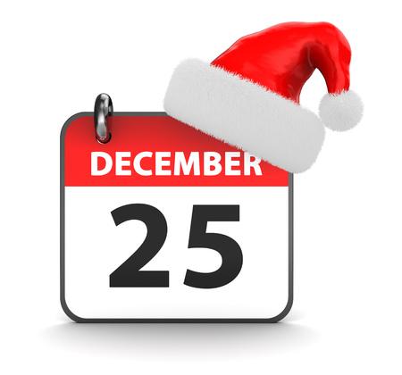 december 25th: 3d illustration of 25th december calendar and christmas hat