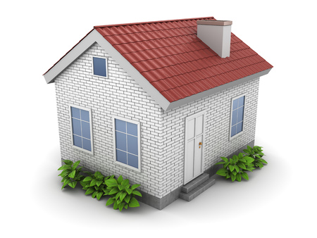 rural development: 3d illustration of house with green plants
