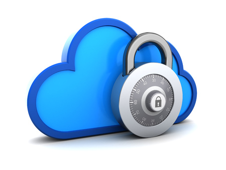 passkey: 3d illustration of protected cloud storage concept