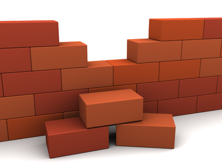 buliding: 3d illustration of brick wall over white background