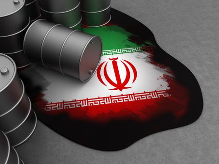 iran: 3d illustration of oil waste storage and Iran flag