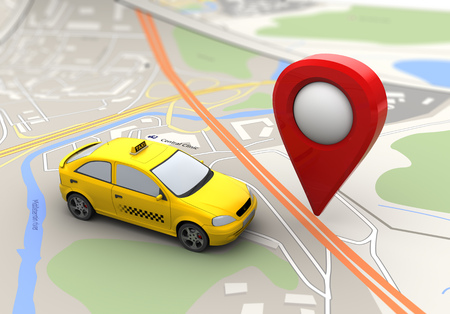 abstract 3d illustration of taxi and target point over city map