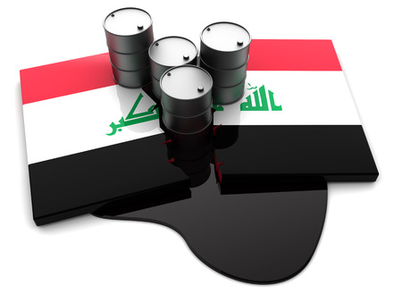 iraq war: abstract 3d illustration of cracked Iraq flag and oil barrels