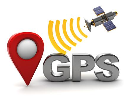 sattelite: 3d illustration of gps sign and red target marker