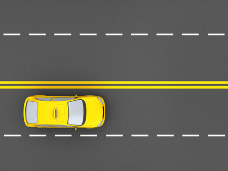 yellow car: 3d illustration of taxi car, top view over road background