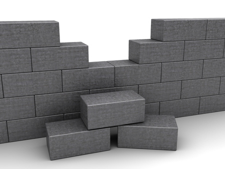 building wall: 3d illustration of gray brick wall over white background