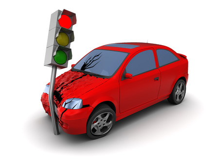 perpetrator: 3d illustration of car crash with traffic light red, over white background