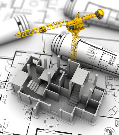 engineering drawing: 3d illustration of crane and concrete building constrution over blueprints background Stock Photo