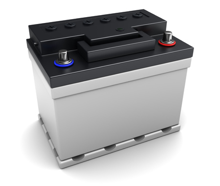 3d illustration of 12v car battery over white background