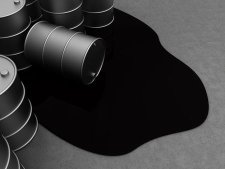 sustancias toxicas: 3d ilustración de almacenamiento de petróleo con los barriles Foto de archivo
