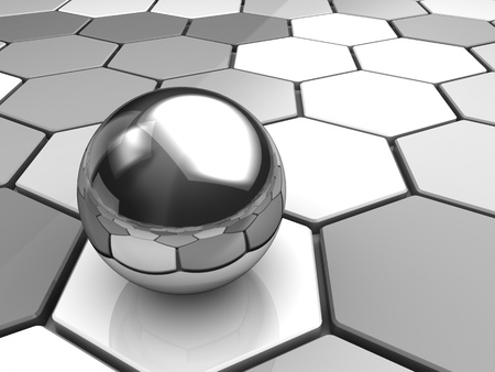 refelction: abstract 3d illustratiojn of background with ball and hexagons