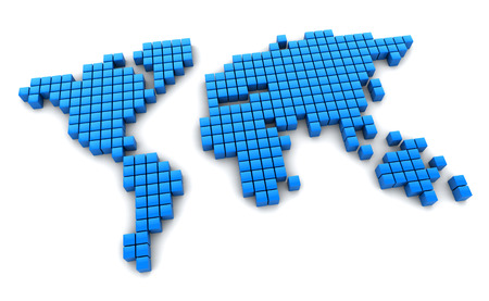 digital world: 3d illustration of digital world map Stock Photo