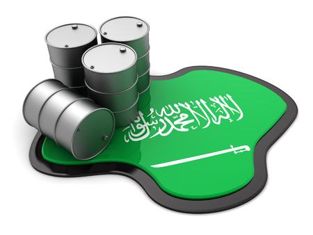 chemical spill: 3d illustration of oil barrels and Saudi Arabia flag Stock Photo