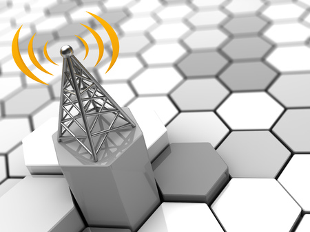 gprs: 3d illustration of cellular network concept