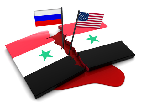 usa flags: 3d illustration of syrian conflict concept