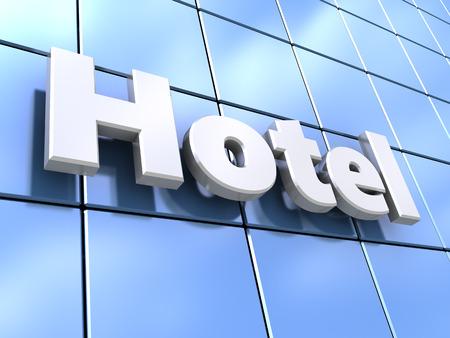 Fachada: 3d ilustración de la pared de vidrio fachada del hotel