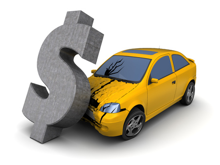 perpetrator: 3d illustration of car crash with dollar sign, over white background