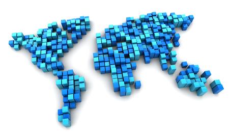 digital world: 3d illustration of digital blocks world map