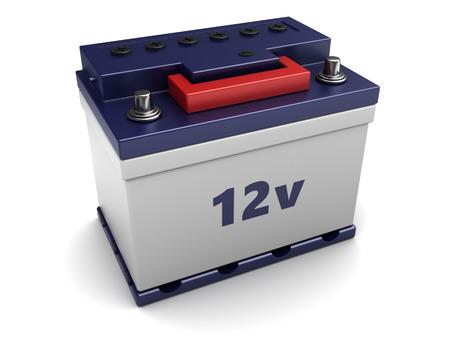 12v: 3d illustration of 12v car battery over white background
