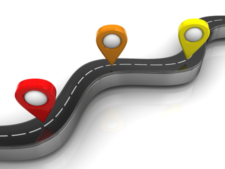 turn yellow: 3d illustration of road and navigation points over white background