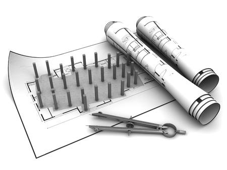 base: 3d illustration of builidng base project