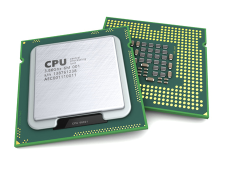 3d illustration of generic modern cpu over white background