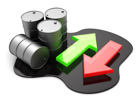 chemical spill: 3d illustration of oil price arrow indicators, oil trading concept Stock Photo