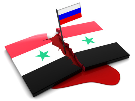 syrian war: 3d illustration of Syria flag and blood, syrian war concept Stock Photo