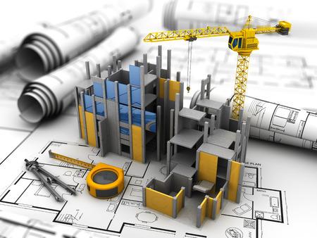 3d illustration of building construction concept