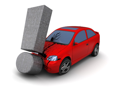 3d illustration of red car collision with exclamation mark
