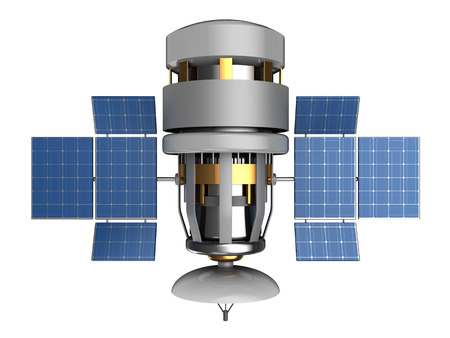 sattelite: 3d illustration of satellite with antenna dish, isolated Stock Photo