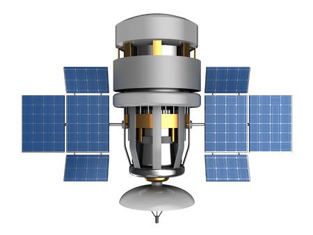 sattelite: 3d illustration of satellite with antenna dish, isolated Stock Photo