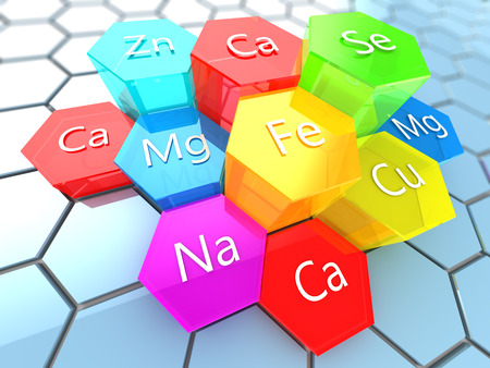 abstract 3d illustration of nutrition minerals labels over colorful hexagons Stockfoto