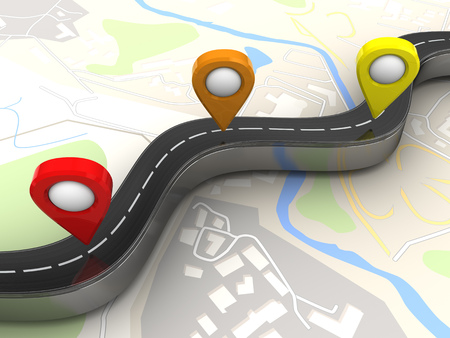 3 point perspective: 3d illustration of road and navigation points over map background