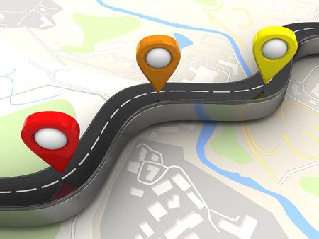 highway 3: 3d illustration of road and navigation points over map background