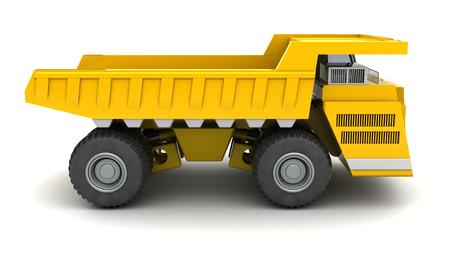 dumper: 3d illustration of huge dumper over white background, side view