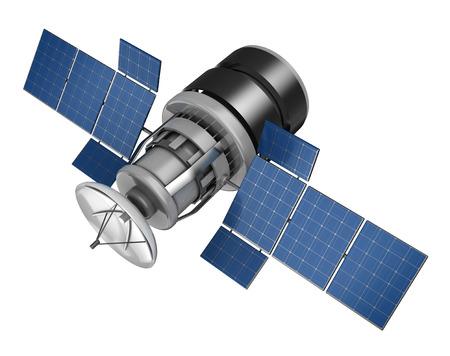 3d illustration of space satellite over white background