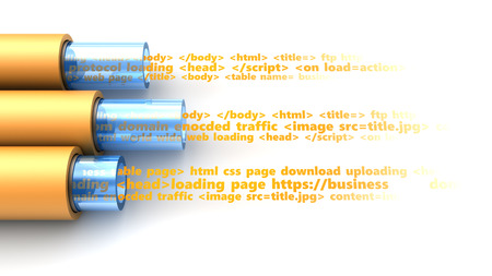 3d illustration of web page data inside cables Stock Photo