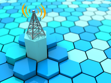 steel tower: abstract 3d illustration of hexagons network and antenna