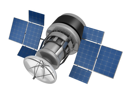 sattelite: 3d illustration of space sattelite with solar panels, isolated over white