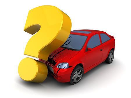3d illustration of car crash with querstion mark