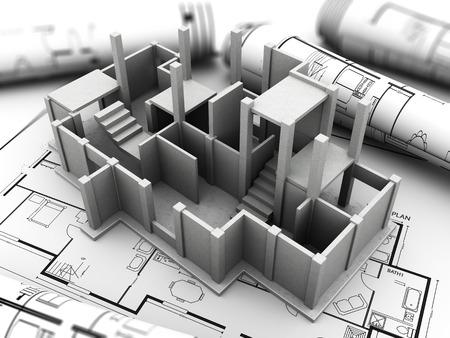 3d model: 3d illustration of concrete house model and blueprints