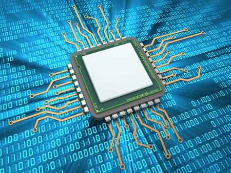 3d illustration of CPU over digital background