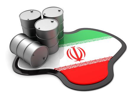 chemical spill: 3d illustration of oil barrels and Iran flag