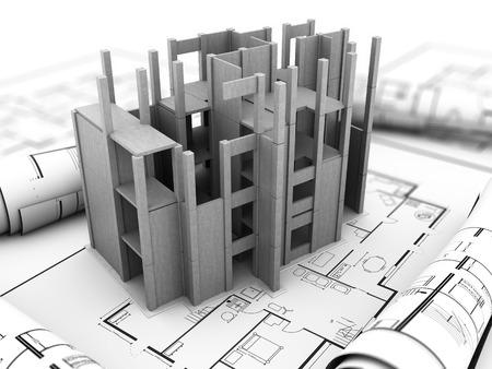 3d model: 3d illustration of concrete building construction over blueprints Stock Photo