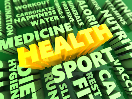 textcloud: 3d illustration of health components concept, green and yellow colors Stock Photo