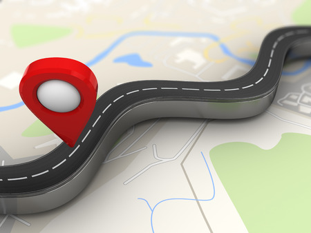 3d illustration of road with red navigation pin over map background