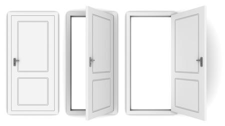3d illustrazione di porta bianca aperta e chiusa
