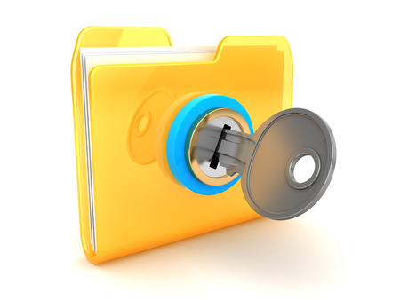 private: 3d illustration of folder closed with key