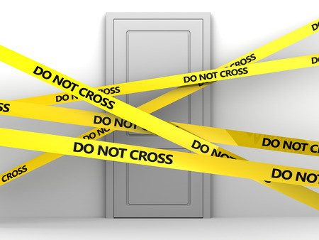 tape line: 3d illustration of white door and tape with do not cross text